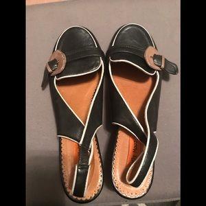 Low block heel Miz Mooz Strap Slide Ons.